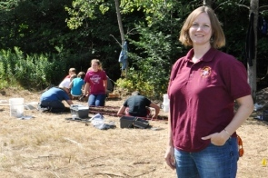 Sarah Surface-Evans, at McGulpin Point in summer 2012 during an archaeological dig.